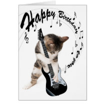 Funny birthday card cat with guitar
