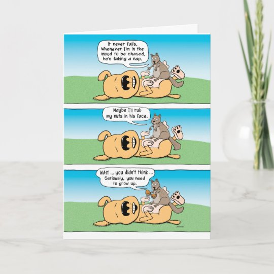 Funny Birthday Card Dog Squirrel And Nuts