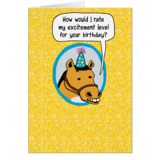 Funny Birthday Card: Excited Horse Greeting Card