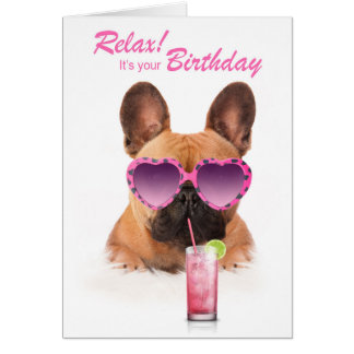 Funny birthday card french bulldog dog sunglasses