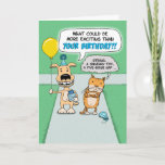 "Funny birthday card: Happy Dog and Grumpy Cat Card<br><div class=""desc"">Here&#39;s a cute and funny birthday card featuring an excited dog and a very grumpy cat headed to a party.</div>"