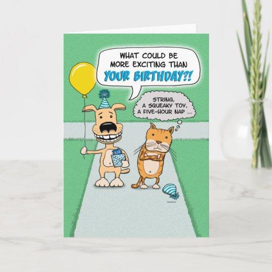 Funny Birthday Card Happy Dog And Grumpy Cat