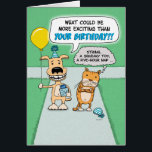 """Funny birthday card: Happy Dog and Grumpy Cat Card<br><div class=""""desc"""">Here&#39;s a cute and funny birthday card featuring an excited dog and a very grumpy cat headed to a party.</div>"""