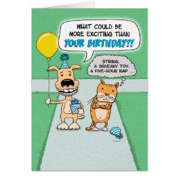 Funny birthday card: Happy Dog and Grumpy Cat Card