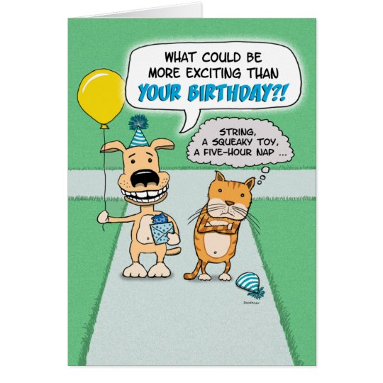 Funny birthday card Happy Dog and Grumpy Cat Card – Birthday Card from Cat