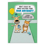 Funny birthday card: Happy Dog and Grumpy Cat Greeting Card