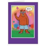 Funny birthday card: Hippie Bear Day Greeting Card