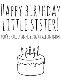 Funny Birthday Card Humorous For Sister