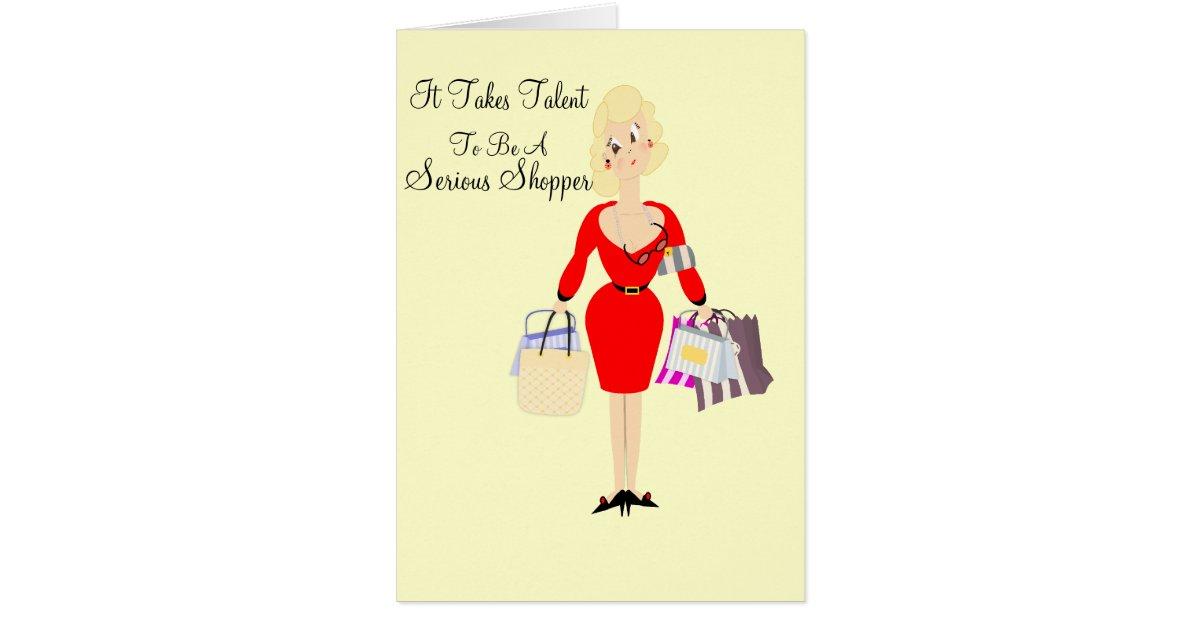 Funny Birthday Card Lady Shopping Theme | Zazzle