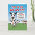 Funny birthday card: Party cows card