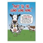 Funny birthday card: Party cows Greeting Card