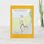"""Funny Birthday Card: """"Running on Wine..."""" Card<br><div class=""""desc"""">This funny greeting card shows a woman running downhill, drinking wine from a wine bottle via a straw. The caption reads, """"Sarah knew that it was important to keep taking on fluids whilst running, """". But the caption (and the """"Happy Birthday"""" message inside, can be customized to make this design...</div>"""