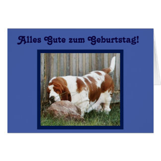 """Funny Birthday Card w/Basset and Rock -""""You Rock"""""""