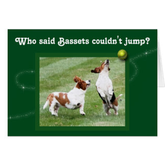 Funny Birthday Card w/Bassets Jumping for Ball