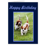 Funny Birthday Card w/Cute Basset Hounds & Cake