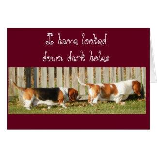 Funny Birthday Card w/Searching Basset Hound