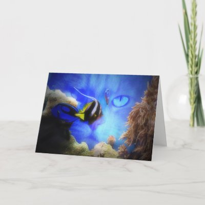 Funny Cat And Fish Bowl Custom Greeting Card Zazzle