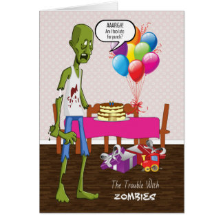 Funny Birthday Card with Zombie at Party