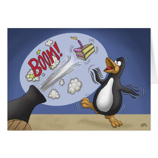 Funny Birthday Cards: Penguin Cake Cannon Greeting Card
