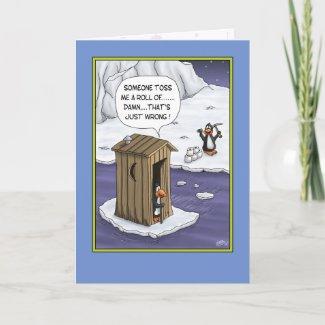 Funny Birthday Cards: Penguin Pranks zazzle_card