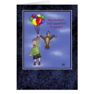Funny Birthday Cards: Sky Squatting Card
