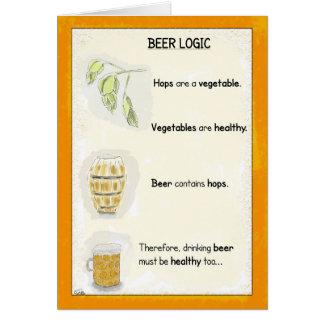Funny Birthday Cartoon Card: Beer Logic Card