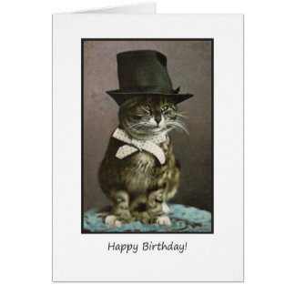 Funny Birthday Cat in Hat Card