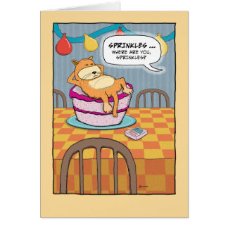 Funny Birthday: Cat on Cake Greeting Card