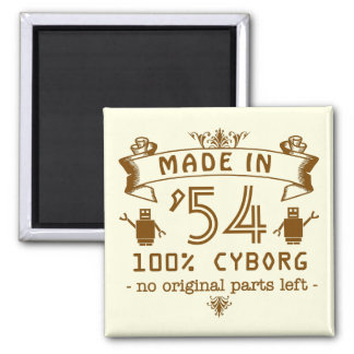 Funny Birthday Cyborg with Customizable Year 2 Inch Square Magnet