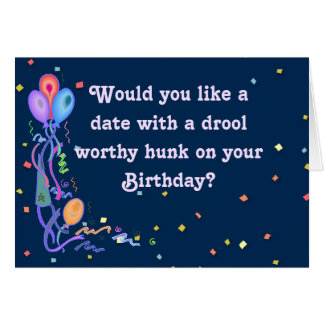 "Funny Birthday ""Date"" Card w/Hunky Basset Hound"