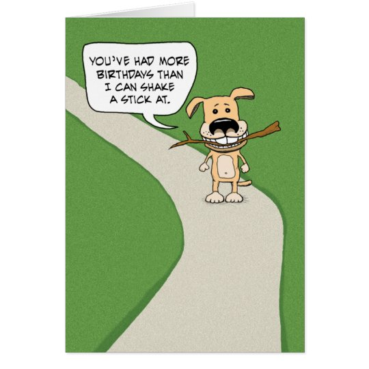 funny birthday dog shake a stick card  zazzle