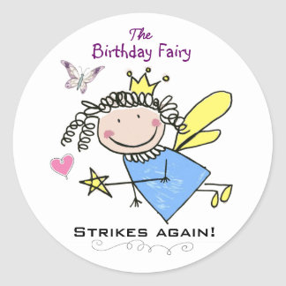 Funny Birthday Fairy Strikes Again Sticker