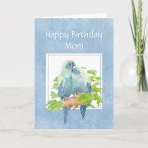 Funny Birthday for Mom Parrot Couple Birds Card