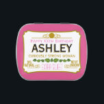 "Funny Birthday Gag Gift for a Woman Jelly Belly Tin<br><div class=""desc"">Hot Pink Version - A humorous take on the famous tin that everyone will recognize. A party favor or anniversary memento. If you need to personalize it more,  click on the customize this button to make changes.</div>"