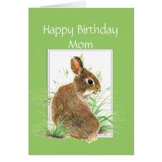 Funny Birthday Mom, Cute Bunny Rabbit, Carrot Cake Greeting Card