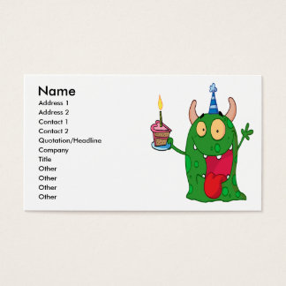 funny birthday monster cartoon character business card