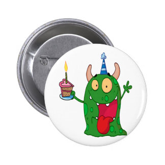 funny birthday monster cartoon character buttons