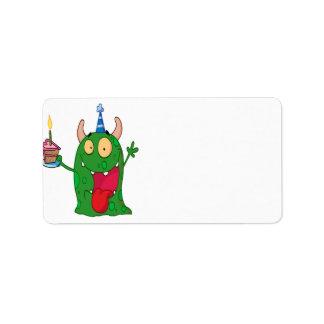 funny birthday monster cartoon character label