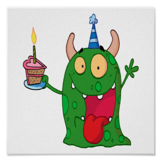 funny birthday monster cartoon character poster