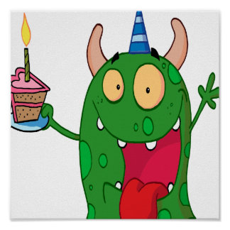 funny birthday monster cartoon character print
