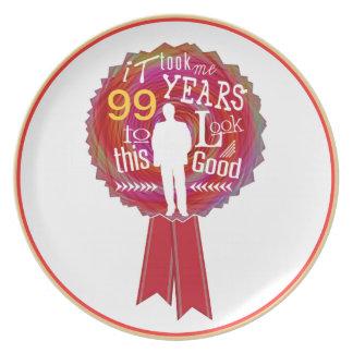Funny Birthday Rosette for men Melamine Plate