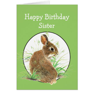Funny Birthday Sister All Ears Cute Bunny Rabbit Card