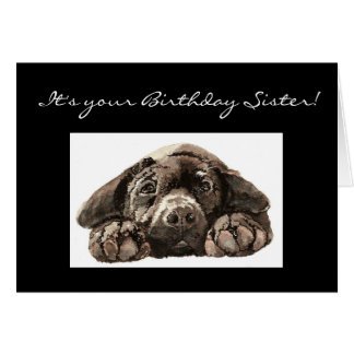 Funny Birthday Sister, Sad Dog, Labrador Retriever Card