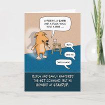 Funny Birthday: Standup Comic Dog Card
