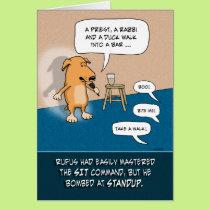 Funny Birthday: Standup Comic Dog Card
