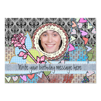 Funny birthday template photo card for him