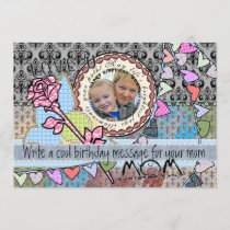 Funny birthday template photo card - mom