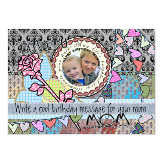 Funny birthday template photo card - mom