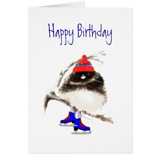 Funny Birthday to Skating Chick, Cute Sport Bird Cards