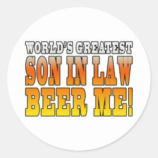 Funny Birthday Wedding Worlds Greatest Son in Law Classic Round Sticker